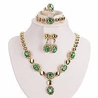 Moochi Gold Plated Zircon Stones Embedded Brass Necklace Earrings Jewelry Set