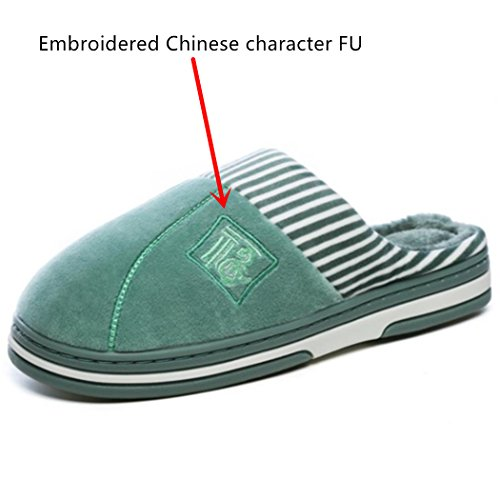 SAMSAY Warm House Slippers Soft Short Plush Lining Slip-On Clog Indoor Shoes w/Embroidered Chinese Character Fu Green zXlo5dU