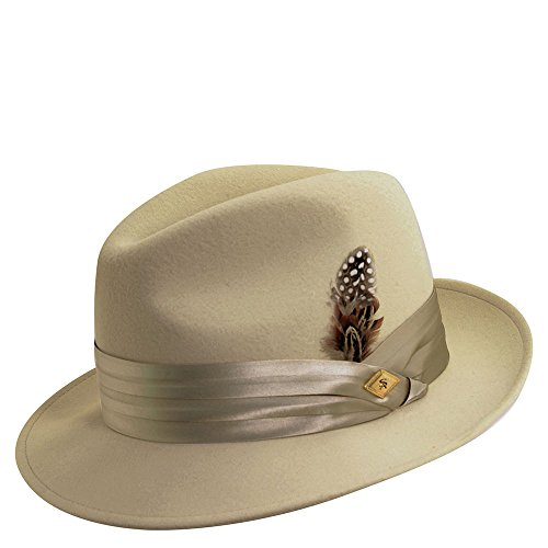 Stacy Adams Men's Crushable Wool Felt Snap Brim Fedora (Bone, X-Large) (Pacific Fedora Hat Dorfman)