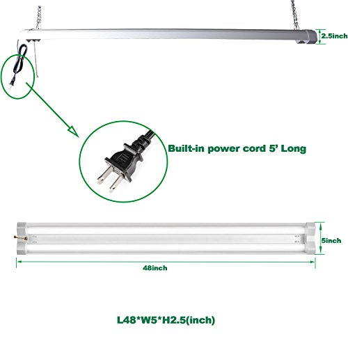 Linkable 4FT LED Utility Shop Light, 40W 4800LM LED Garage Lights 4 Foot, 5000K, 120W Fluorescent Lighting Fixtures Replacement, Plug in, ON/Off Pull Chain Included, ETL and DLC Qualified, 2 Pack by FaithSail (Image #1)