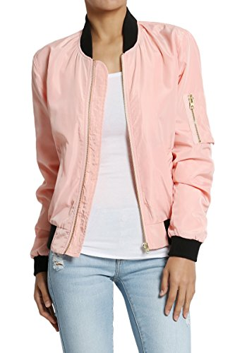 TheMogan Women's Lightweight Shell Zipper Up Bomber Jacket Pink M