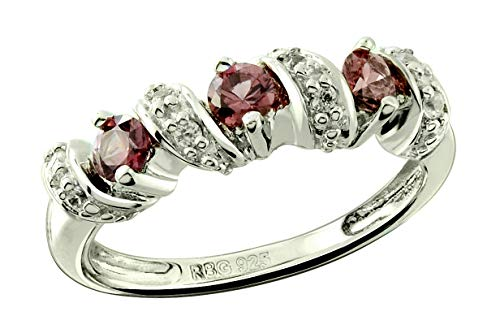RB Gems Sterling Silver 925 Ring Genuine Gemstone Round 3 mm, Rhodium-Plated Finish, Stackable Style (5, rhodolite-garnet)