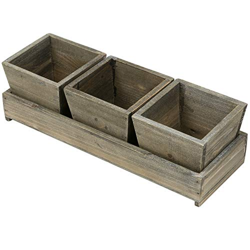 Three Square Planters - MyGift Set of 3 Rustic Style Wood Succulent Planter Square Pots w/ Tray, Brown