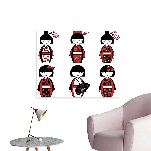 J Chief Sky Girls Wallpaper Sticker Unique Asian Geisha Dolls in Folkloric Costumes Outfits Hair Sticks Kimono Art Image Personalized Wall Decals W28 xL20