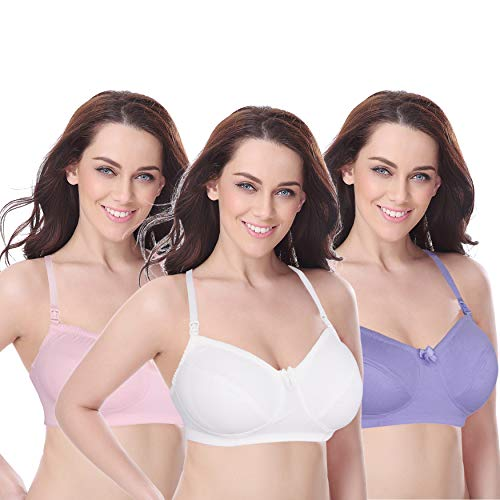 1b18bb87693 Curve Muse Women s Plus Size Maternity Nursing Cotton Wirefree Bra- 2 or 3  Pack