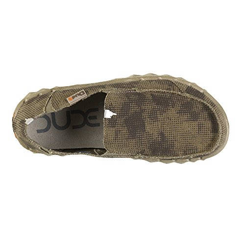 Dude Shoes Men's Farty Print Desert Camo Slip On / Mule Green & Brown & Multi Col