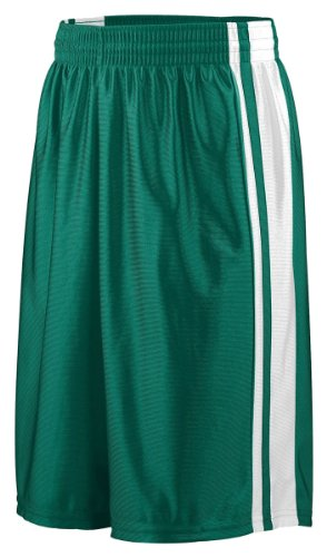 Augusta 924A Youth Striped Dazzle Short, Dark Green & White, Medium