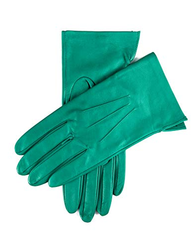 YISEVEN Women's Unlined Leather Gloves Italian Lambskin Three Points Long Cuff Design Hand Warm and Stylish Ladies Dress Driving Motorcycle Work Luxury Xmas Gift, Turquoise Green 6.5