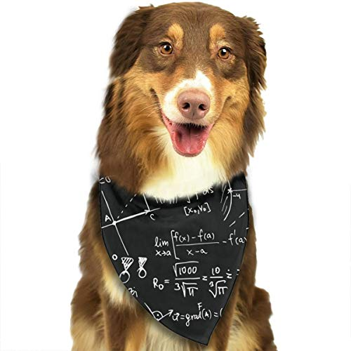 Pet Scarf Dog Bandana Bibs Triangle Head Scarfs Math Equation Accessories for Cats Baby Puppy ()