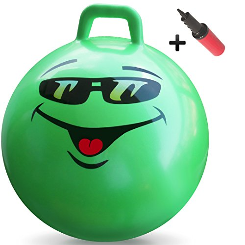 WALIKI TOYS Hopper Ball For Teenagers Ages 10-15 (Hippity Hop Ball, Hopping Ball, Bouncy Ball With Handles, Sit & Bounce, Kangaroo Bouncer, Jumping Ball, 22 Inches, green, Pump Included) - Kid Bouncing Ball