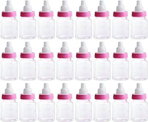 3.5 Inches Baby Bottle Shower Favor,Mini Plastic Candy Bottle,Baby Shower Supplies Boy Girl Newborn Baby Baptism Birthday Party Deco (2 Dozens, Pink) (Cheap Plastic Baby Bottles For Baby Shower)