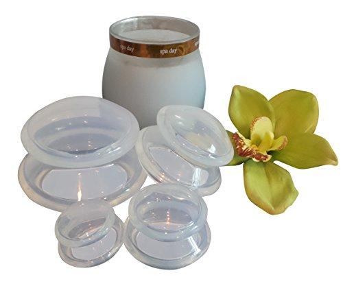LURE Kit Ventouse Massage: Pas de pompage! Ergonomique et facile sur vos mains. Excellente aspiration tel qu'il est utilisé par des thérapeutes et praticiens cosmétiques. Hypoallergénique silicone de qualité médicale - pas de plastique! Vrai transparent.