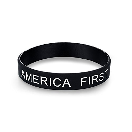 Zenturio America First - Bracelet - Unisize/Unisex and Allergy Free - Make America Great Again - US President Donald Trump Black Cosmos Limited Edition