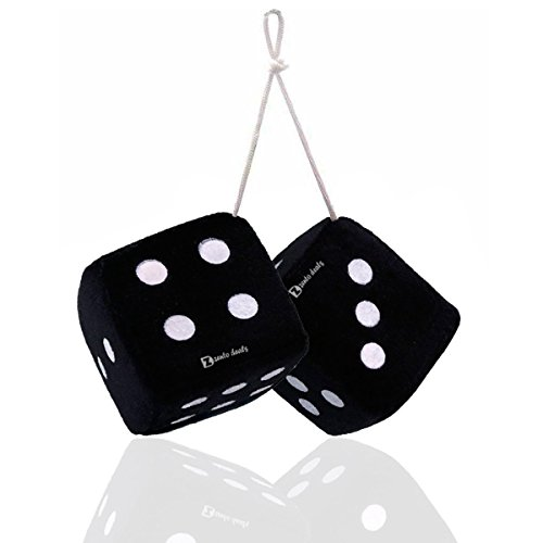 Zento Deals Pair of 3 Inch Square Black Hanging Fuzzy Dice with White -