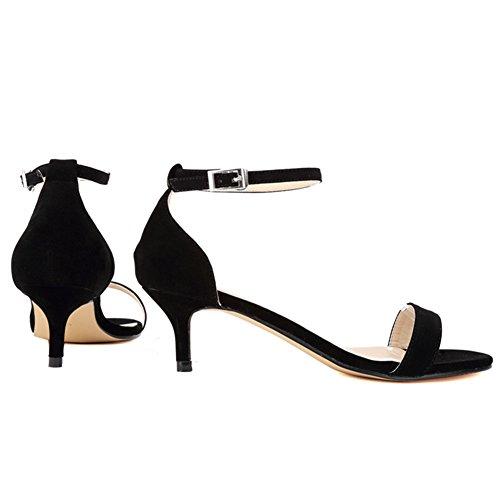 Ankle Strap Women's Suede Black Heel Shoes Mid Sandals Kitten Thin VOCOSI Heel Toe Open faux qE54wdE7n
