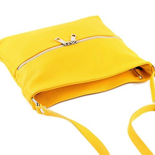 modamoda de - Made in Italy - Bolso cruzados para mujer siehe Beschreibung amarillo
