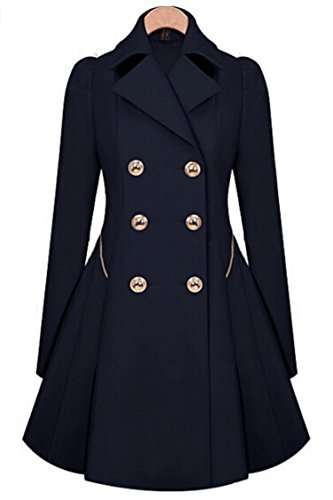 Mogra Womens Elegant Slim Double Breasted Pocket Outwear Trench Jacket Coat Navy Blue XL
