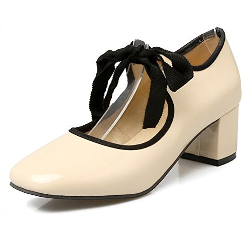 Mofri Women's Sweet Bowknot Square Toe Medium Block Heels Lace up Pumps Shoes (Apricot, 4 B(M) US) ()