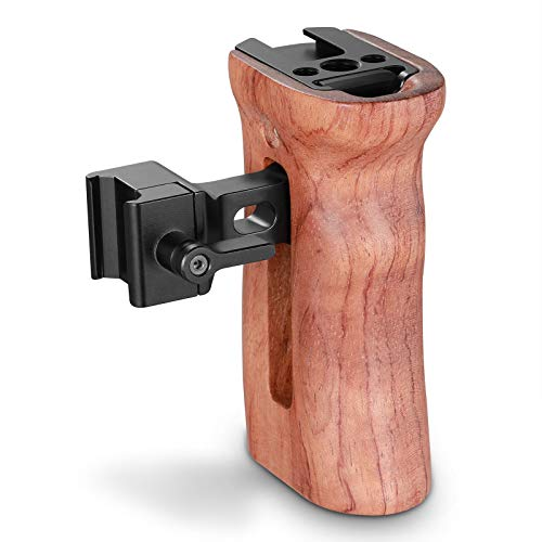 SMALLRIG Universal Side Wooden NATO Handle Grip DSLR Camera Cage w/Cold Shoe Mount Built-in Wrench, Threaded Holes - 2187