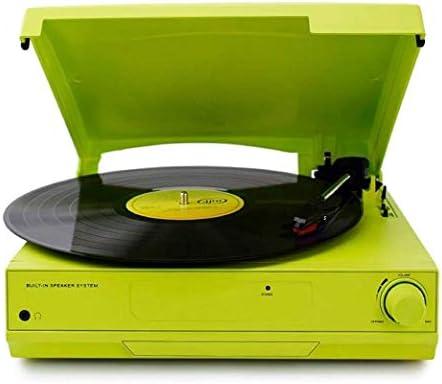 ALIZJJ ステレオスピーカーを内蔵したベルトターンテーブルを駆動、ヴィンテージスタイルのレコードプレーヤー、Bluetoothの内蔵スピーカー (Color : Green)