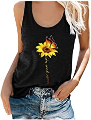 BingYELH Women Sunflower Butterfly Graphic Tank Tops Shirts Summer Plus Size Sleeveless Funny Print Casual Top