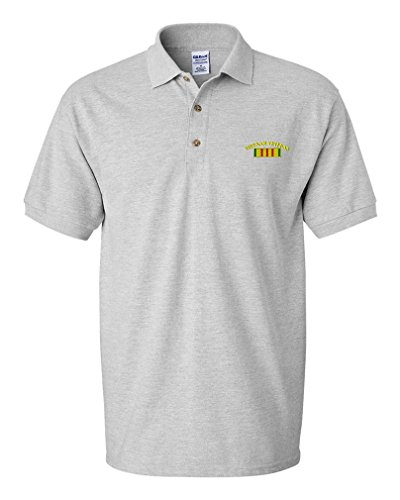 - Vietnam Veteran Flag Embroidery Design Adult Button-End Spread Short Sleeve Unisex Cotton Polo Shirt Golf Shirt - Oxford Grey, Large