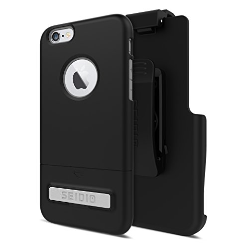 Seidio SURFACE with Metal Kickstand Case & Belt-Clip Holster for iPhone 6/6S - Non-Retail Packaging - Black/Gray ()