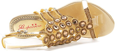 Abby L019 Womens Unique Wedding Bride Bridesmaid Party Show Dress Cone Heel Micro-Fiber Sandals Gold-a cheapest price cheap online outlet supply 3kUC48t7