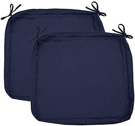 Sigma Outdoor Seat Cushion Cover Water Repellent Patio Deep Seat Chair Cushion Cover-Only Cover Navy 25″x25″x5″ 2 Cover