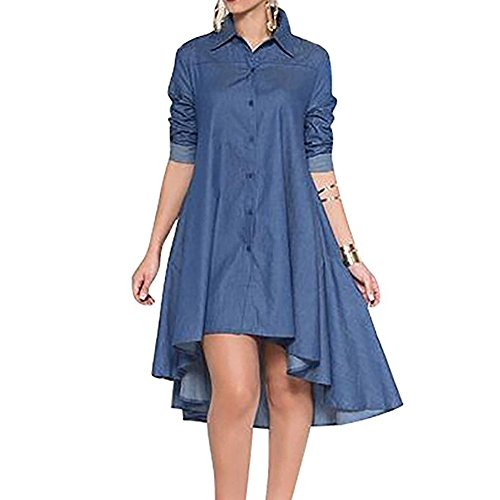 Womens Casual Blue Denim Lapel Long Sleeve A-line Shirt Dresses Loose High Low Hem Mini Dress with Pocket Blue Large ()