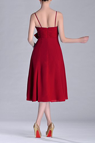 Dress A Strapless Length Junior neck line Knee Burgundy Natrual V Bridesmaid Chiffon XvqO5