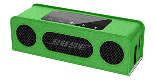 MoKo Carrying Case for Bose SoundLink Mini / Mini 2, Portable Speaker Cover PU Leather Protective Bag Sleeve Skins, with Holding Strap & Carabiner, GREEN (Case Skin Sleeve Bag)