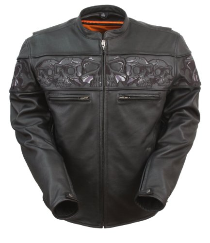 (First Manufacturing Black XXX-Large Men's Sporty Scooter Jacket with Reflective Skulls)