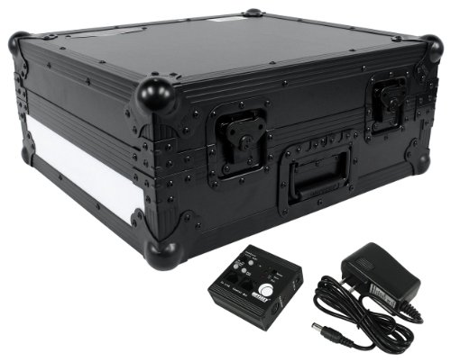 Odyssey FFX2RBM1200BL Flight Fx2 Series Battle Position Technics 1200 Style Turntable Case with Front and Right Side LED Panel 1200 Series Turntable