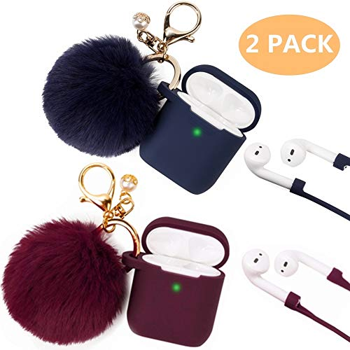 Airpods Case, Filoto Airpod Case Cover for Apple Airpods 2&1 Charging Case, Cute AirPods Silicon Case with Airpods Accessories Keychain/Skin/Pompom/Strap 2019 Winter Series (Burgundy+Midnight Blue)