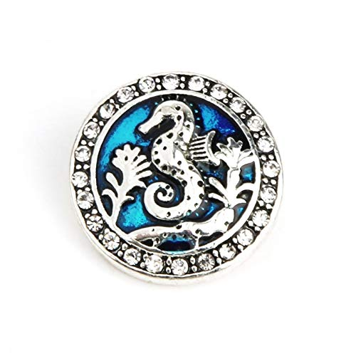Navy Ocean Marine Life 18Mm Snap Buttons | Shell Starfish Patterns | Snaps Bracelets/Necklace Jewelry (E)