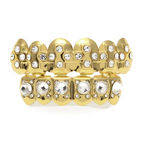 Never give up. Braces Four-Pointed Star Diamonds Gold Plated a Variety of Styles Free to Match Hip-hop Gold Braces (Color : Gold, Edition : A) ()