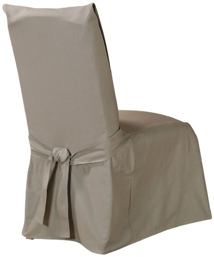 Sure Fit Duck Solid - Dining Room Chair Slipcover  - Linen (Microsuede Dining Chair Cover)