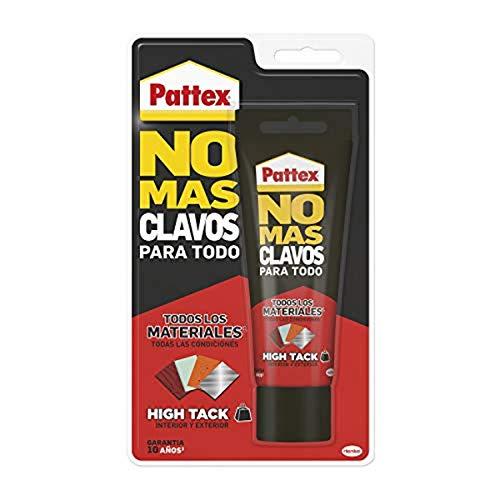 Pattex No Mas Clavos Para Todo HighTack Adhesivo de montaje resistente a temperaturas extremas, pegamento fuerte en superficies humedas, Blanco, 1 tubo x 142 g