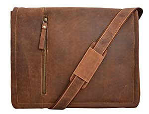 "Visconti FOSTER 16073 X-Large Leather Laptop Computer Case Messenger Bag for 15"" laptop with Computer Sleeve"