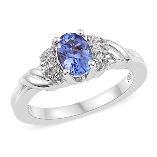 Oval Tanzanite Ring 925 Sterling Silver Platinum Plated Jewelry for Women Size 10 Ct ()