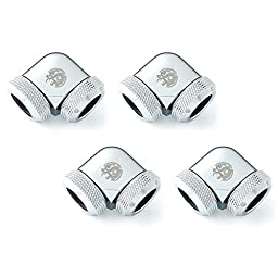 Bitspower Dual Enhance Multi-Link Adapter Fitting, 90° Angle, Silver Shining, 4-pack