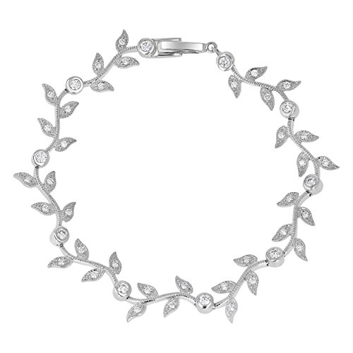 14k Gold Vine - Olivia Paris 14k White Gold 1 Carat (G-H Color, VS1-VS2 Clarity) IGI Certified Diamond Vine Bracelet