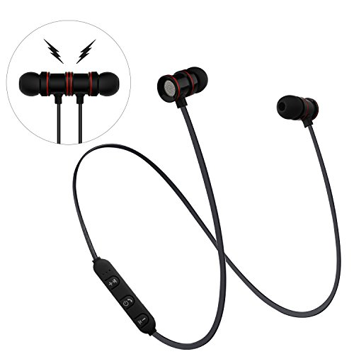 AFRGZFOR Bluetooth Headphones,Wireless Headphones V4.1 Magnetic in-Ear Stereo Earphones,6 Hours,Noise Cancelling,Sweat Proof Earphones Sports Sweatproof Headset with Mic for Sport Black by AFRGZFOR