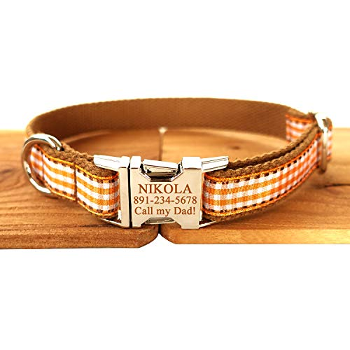 Smartyou Personalized Dog Collar, Engraved Metal Clasp Collar for Pets Name & Phone Number with Fully Adjustable Sizes XS/S/M/L/XL (XS/S/M/L/XL, Brown Check)