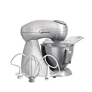 Hamilton Beach Eclectrics All-Metal 12-Speed Electric Stand Mixer,  Tilt-Head, 4 5 Quarts, Pouring Shield, Sterling (63220),