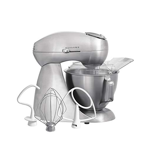 Hamilton Beach Eclectrics All-Metal 12-Speed Electric Stand Mixer, Tilt-Head, 4.5 Quarts, Pouring Shield, Sterling (63220),