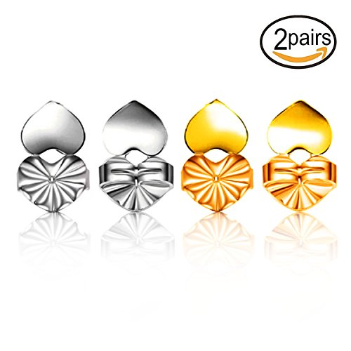 2018 Magic Earring Lifts - 2 Pairs Hypoallergenic Adjustable Earring Lifters Lift (Gold Plated and Silver)