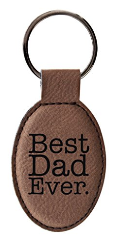 ThisWear Dad Best Dad Ever Father Daughter Gifts Father Son Gifts Leather Oval Keychain Key Tag Brown (Leather Keychain Small)