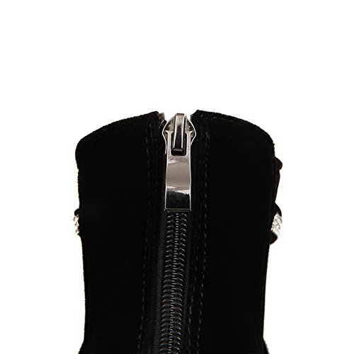 Allhqfashion Women's High-Heels Frosted Low-top Solid Zipper Boots Black HaDACq